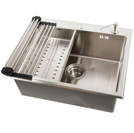 Chiuveta bucatarie inox CookingAid CLIO cu dozator detergent, scurgator vase/paste/fructe, gratar rulabil inox + accesorii montaj0