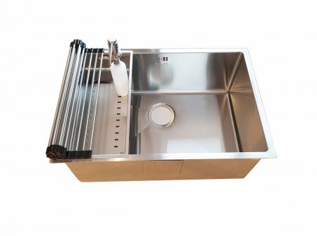 Chiuveta bucatarie inox CookingAid HERA STANDARD cu dozator detergent, scurgator vase/paste/fructe, gratar rulabil inox, tocator lemn Sapele + accesorii montaj2