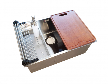 Chiuveta bucatarie inox CookingAid HERA STANDARD cu dozator detergent, scurgator vase/paste/fructe, gratar rulabil inox, tocator lemn Sapele + accesorii montaj8