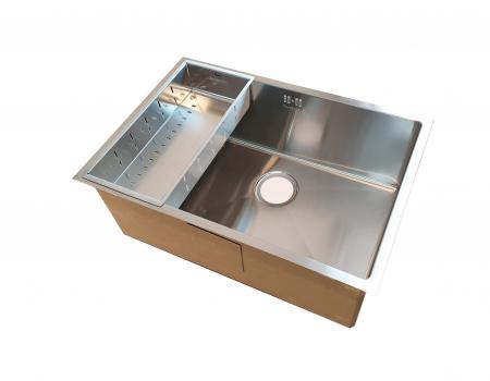 Chiuveta bucatarie inox CookingAid HERA STANDARD cu dozator detergent, scurgator vase/paste/fructe, gratar rulabil inox, tocator lemn Sapele + accesorii montaj4