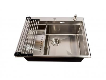 Chiuveta bucatarie inox CookingAid HERA TOP cu dozator detergent, scurgator vase/paste/fructe, gratar rulabil inox, tocator lemn Sapele + accesorii montaj [3]