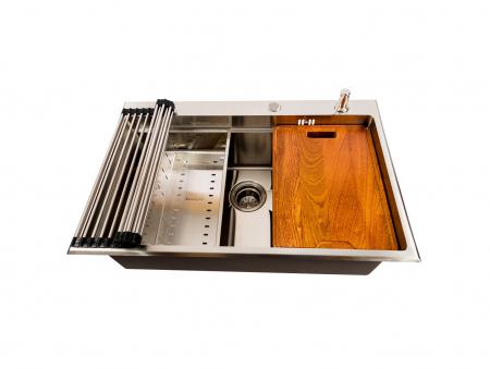 Chiuveta bucatarie inox CookingAid HERA TOP XL cu dozator detergent, tavita scurgere inox, gratar rulabil inox, tocator lemn Sapele + accesorii montaj0