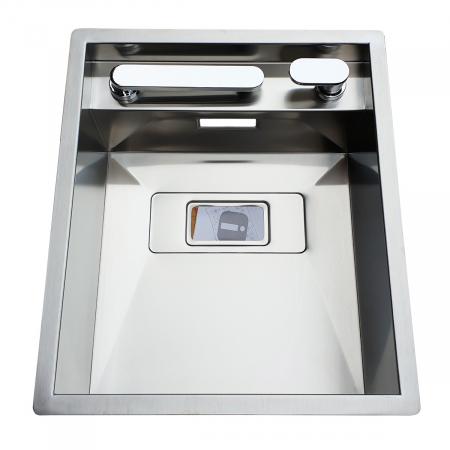 Chiuveta bucatarie inox CookingAid INVISIBLE 40R cu baterie telescopica integrata, capac scurgere invizibil, tocator sticla temperizata + accesorii montaj [7]