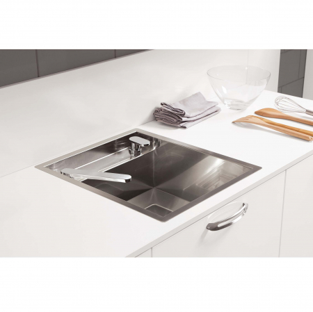 Chiuveta bucatarie inox CookingAid INVISIBLE 50R cu baterie telescopica integrata, capac scurgere invizibil + accesorii montaj [3]
