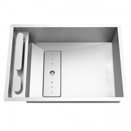 Chiuveta bucatarie inox CookingAid INVISIBLE 50R cu baterie telescopica integrata, capac scurgere invizibil + accesorii montaj [4]