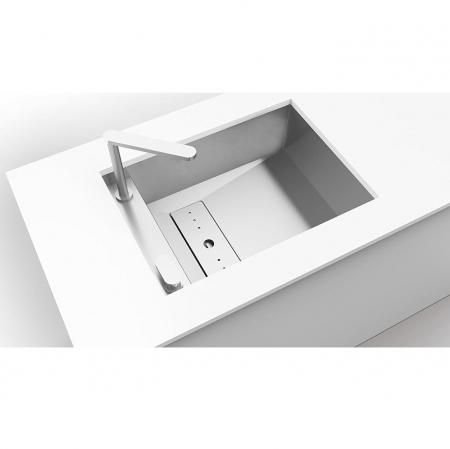Chiuveta bucatarie inox CookingAid INVISIBLE 50R cu baterie telescopica integrata, capac scurgere invizibil + accesorii montaj [5]
