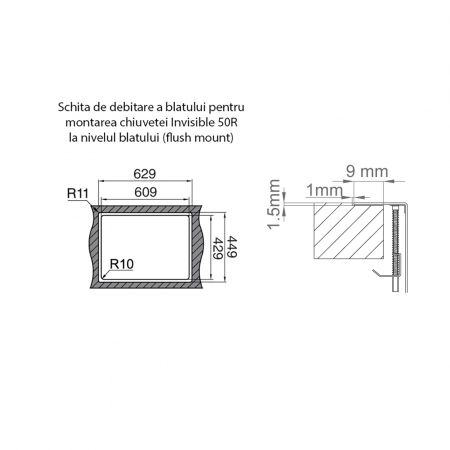 Chiuveta bucatarie inox CookingAid INVISIBLE 50R cu baterie telescopica integrata, capac scurgere invizibil + accesorii montaj [12]