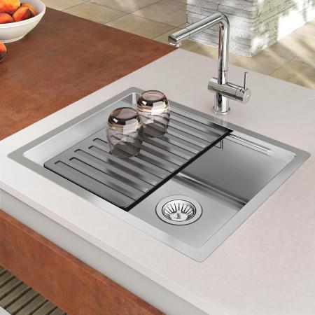 Chiuveta bucatarie inox CookingAid LUX STEP 50 + Bonus: tocator Versus din ABS reversibil in scurgator vase + accesorii montaj1