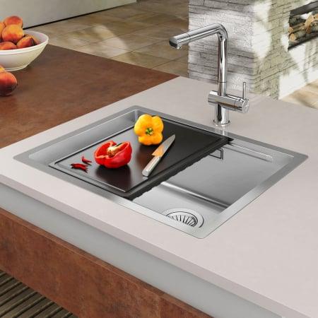 Chiuveta bucatarie inox CookingAid LUX STEP 50 + Bonus: tocator Versus din ABS reversibil in scurgator vase + accesorii montaj0