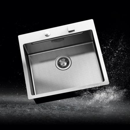Chiuveta bucatarie inox CookingAid LUX STEP 57 + Bonus: tocator Versus din ABS reversibil in scurgator vase + ventil automat scurgere + accesorii montaj0