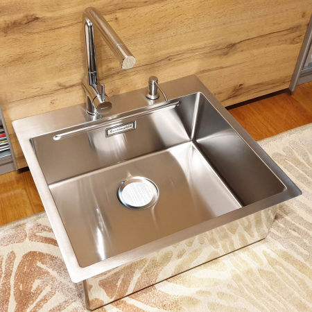 Chiuveta bucatarie inox CookingAid LUX STEP 57 + Bonus: tocator Versus din ABS reversibil in scurgator vase + ventil automat scurgere + accesorii montaj2