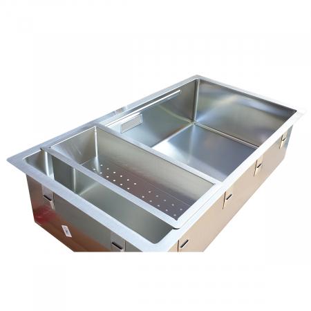 Chiuveta bucatarie inox CookingAid LUX STEP 74 + Bonus: tocator Versus din ABS reversibil in scurgator vase si accesorii montaj [9]