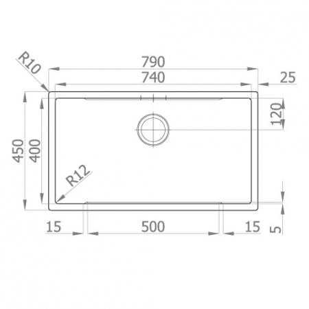 Chiuveta bucatarie inox CookingAid LUX STEP 74 + Bonus: tocator Versus din ABS reversibil in scurgator vase si accesorii montaj [6]