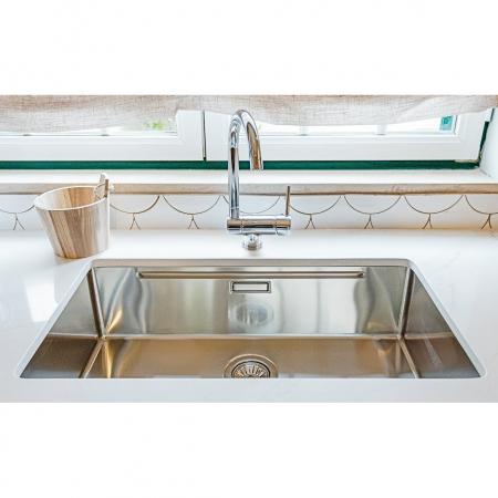 Chiuveta bucatarie inox CookingAid LUX STEP 74 + Bonus: tocator Versus din ABS reversibil in scurgator vase si accesorii montaj [11]