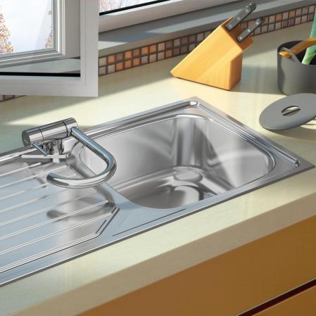 Chiuveta bucatarie inox CookingAid OKIO LINE 103 PL reversibila stanga/dreapta cu picurator si accesorii montaj [3]