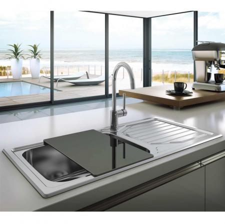 Chiuveta bucatarie inox CookingAid OKIO LINE 103 PL reversibila stanga/dreapta cu picurator si accesorii montaj [0]
