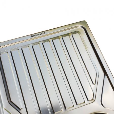 Chiuveta bucatarie inox CookingAid OKIO LINE 80 FLAT PL reversibila stanga/dreapta cu picurator + accesorii montaj4