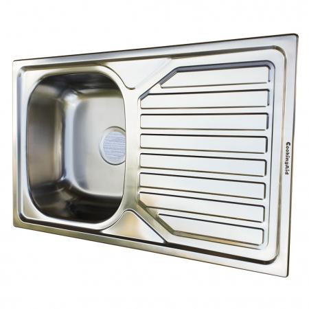 Chiuveta bucatarie inox CookingAid OKIO LINE 80 FLAT PL reversibila stanga/dreapta cu picurator + accesorii montaj5