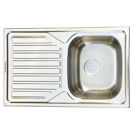 Chiuveta bucatarie inox CookingAid OKIO LINE 80 FLAT PL reversibila stanga/dreapta cu picurator + accesorii montaj1