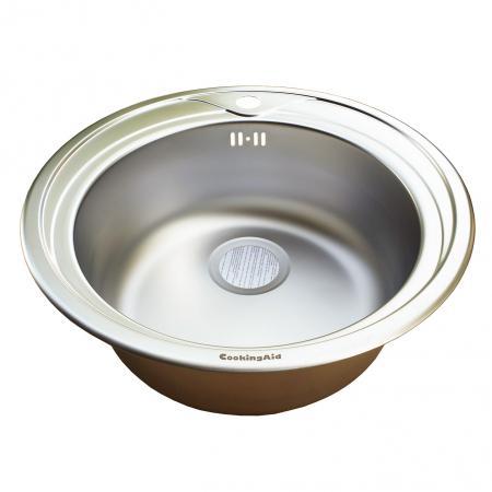 Chiuveta bucatarie inox CookingAid PIO REDONDO NP rotunda finisaj MAT + accesorii montaj2