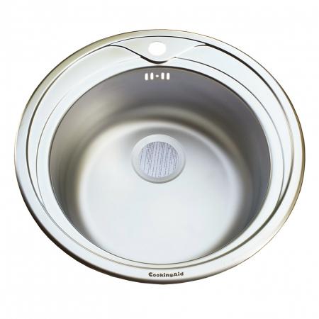 Chiuveta bucatarie inox CookingAid PIO REDONDO NP rotunda finisaj MAT + accesorii montaj12