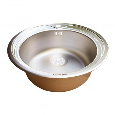 Chiuveta bucatarie inox CookingAid PIO REDONDO NP rotunda finisaj MAT + accesorii montaj10