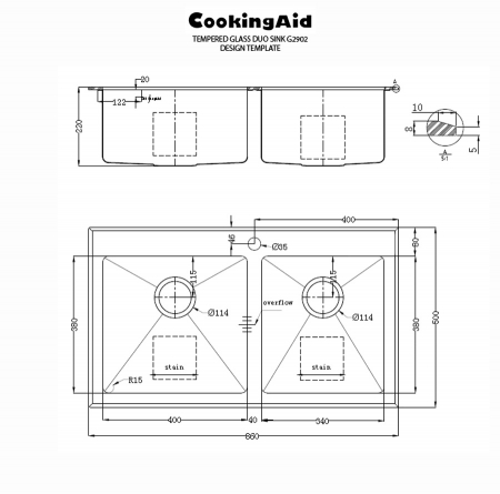 Chiuveta bucatarie inox CookingAid TEMPERED GLASS DUO cu tocator personalizat sticla temperizata, scurgator vase/paste/fructe, gratar rulabil inox + accesorii [8]