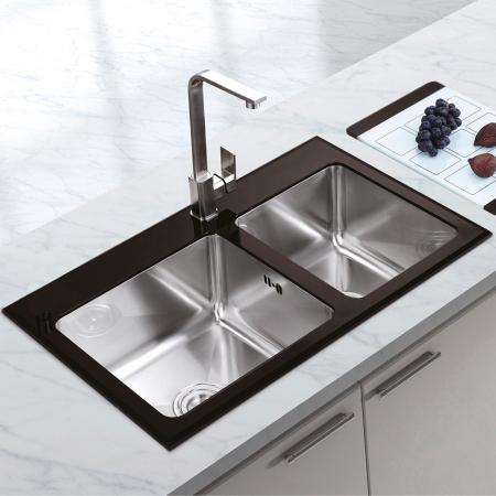Chiuveta bucatarie inox CookingAid TEMPERED GLASS DUO cu tocator personalizat sticla temperizata, scurgator vase/paste/fructe, gratar rulabil inox + accesorii [0]