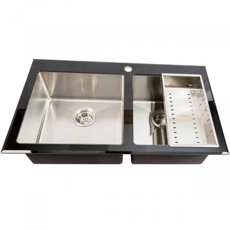 Chiuveta bucatarie inox CookingAid TEMPERED GLASS DUO cu tocator personalizat sticla temperizata, scurgator vase/paste/fructe, gratar rulabil inox + accesorii [4]