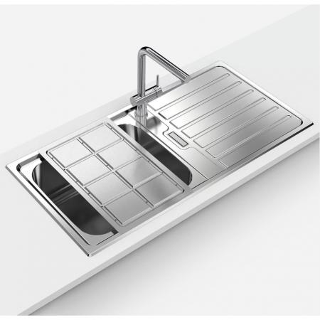 Chiuveta bucatarie inox CookingAid URBAN 105 reversibila stanga/dreapta cu picurator + accesorii montaj3