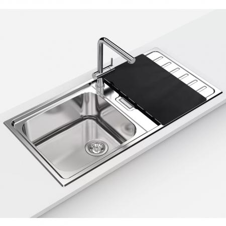 Chiuveta bucatarie inox CookingAid URBAN 105 reversibila stanga/dreapta cu picurator + accesorii montaj2