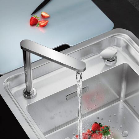 Chiuveta bucatarie inox CookingAid VISION 40 cu baterie telescopica integrata, tocator sticla temperizata + accesorii montaj ideala pentru montaj sub geam [1]