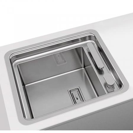 Chiuveta bucatarie inox CookingAid VISION 40 cu baterie telescopica integrata, tocator sticla temperizata + accesorii montaj ideala pentru montaj sub geam [3]