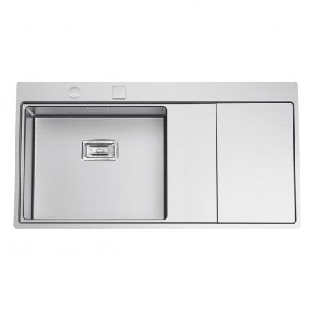 Chiuveta bucatarie inox CookingAid XERON 105 LEFT cu ventil scurgere dreptunghiular automat si accesorii montaj0