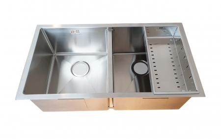 Chiuveta bucatarie inox dubla CookingAid HERA DUO cu dozator detergent, scurgator vase/paste/fructe, gratar rulabil inox + accesorii montaj [12]