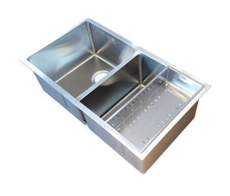 Chiuveta bucatarie inox dubla CookingAid HERA DUO cu dozator detergent, scurgator vase/paste/fructe, gratar rulabil inox + accesorii montaj [10]