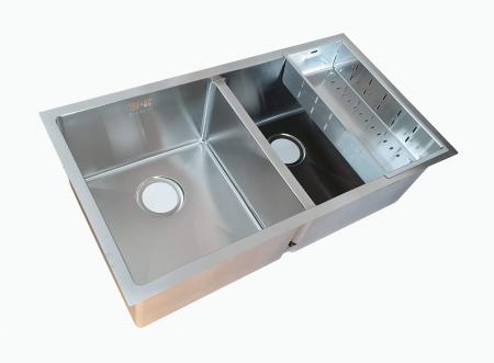 Chiuveta bucatarie inox dubla CookingAid HERA DUO cu dozator detergent, scurgator vase/paste/fructe, gratar rulabil inox + accesorii montaj [11]