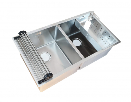 Chiuveta bucatarie inox dubla CookingAid HERA DUO cu dozator detergent, scurgator vase/paste/fructe, gratar rulabil inox + accesorii montaj [7]
