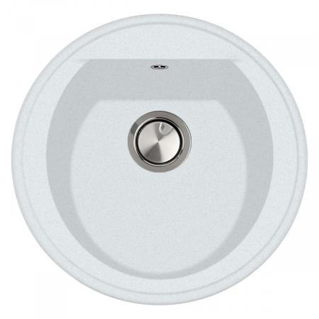 Chiuveta bucatarie rotunda granit CookingAid Naiky NK5110 Alba / Polar White + accesorii montaj0