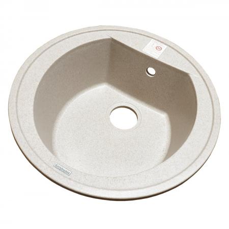 Chiuveta bucatarie rotunda granit CookingAid Naiky NK5110 Bej Pigmentat / Avena + accesorii montaj [4]