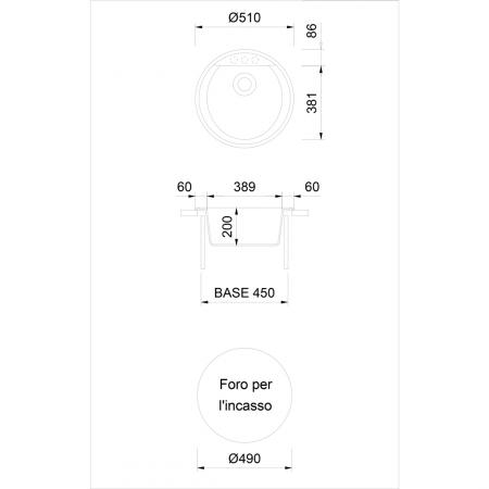 Chiuveta bucatarie rotunda granit CookingAid Naiky NK5110 Bej Pigmentat / Avena + accesorii montaj [9]