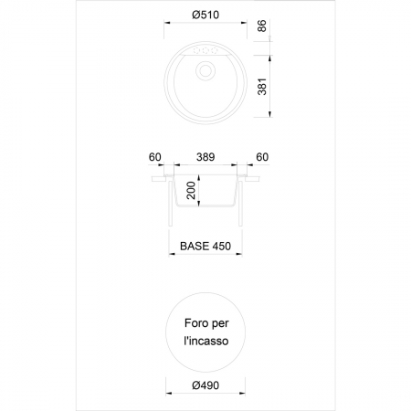 Chiuveta bucatarie rotunda granit CookingAid Naiky NK5110 Bej Pigmentat / Avena + accesorii montaj [3]