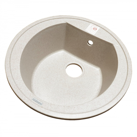 Chiuveta bucatarie rotunda granit CookingAid Naiky NK5110 Bej Pigmentat / Avena + accesorii montaj [11]