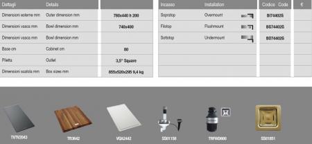 Chiuveta de bucatarie inox PVD ArtInox Titanium 74 gold, culoare aurie [8]