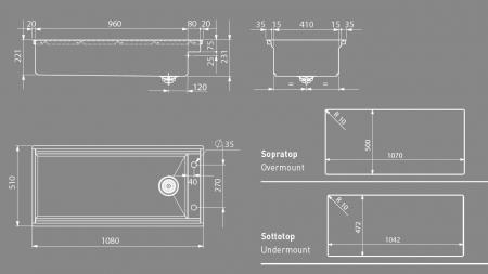 Chiuveta inox bucatarie ArtInox Layer BRL 104 cu montaj pe/sub blat [5]
