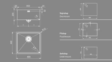 Chiuveta inox bucatarie ArtInox Quadra 45, 490x440 mm [2]