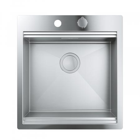 Chiuveta inox bucatarie Grohe K800 cu 1 cuva, 52x56 cm,cu excentric [5]