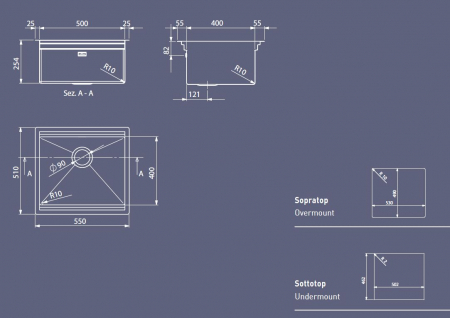 Chiuveta inox bucatarie multinivel ArtInox Planum 50-55x51 cm AISI 304 [2]