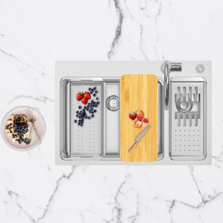 Chiuveta bucatarie cu 2 cuve inox CookingAid UNA 75 cu Bonus: tocator Versus din ABS reversibil in scurgator vase + accesorii montaj [10]