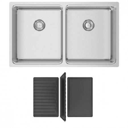 Chiuveta bucatarie cu 2 cuve inox CookingAid UNA 75 cu Bonus: tocator Versus din ABS reversibil in scurgator vase + accesorii montaj [7]
